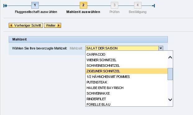 SAP Flugdatenmodell Menueauswahl