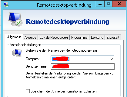 Windows: Favoritenspeicher RDP Client
